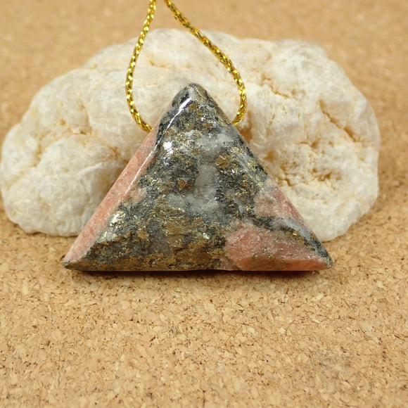Rhodochrosite and Pyrite Triangle Pendant