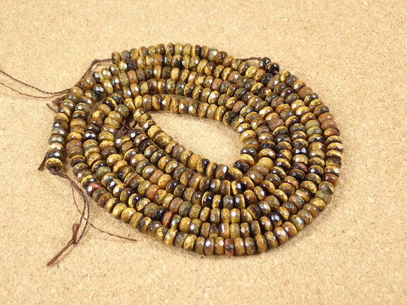 Tiger Eye Faceted Rondelle Beads