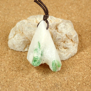 Green Tourmaline in Quartz Freeform Pendant