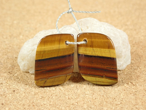 Tiger Eye Rectangle Earring Pair