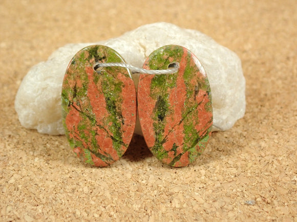 Unakite Oval Earring Pair