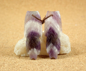 Chevron Amethyst Feather Earring Pair