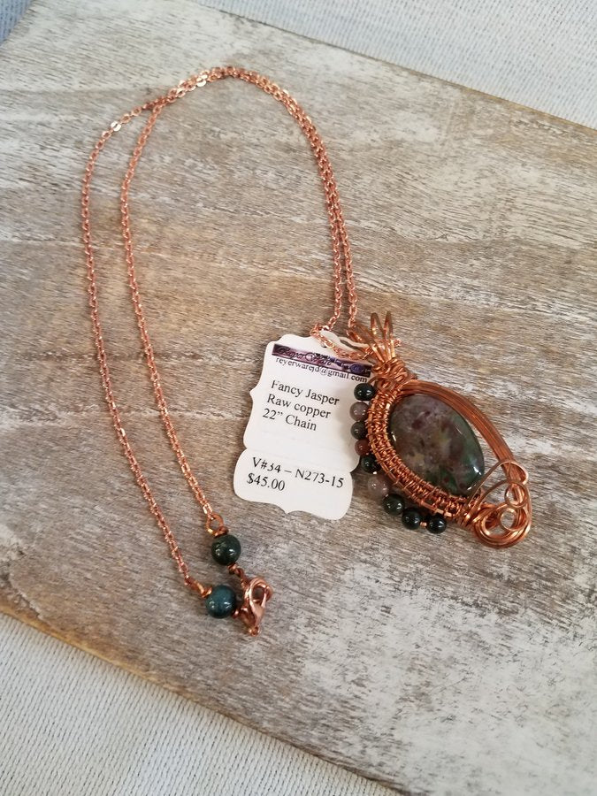 "N273-15 - Fancy Jasper Raw Copper 22"" Chain"