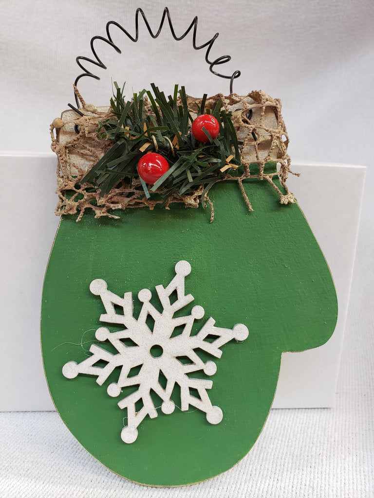 Green Wooden Snowflake Mitten Ornament