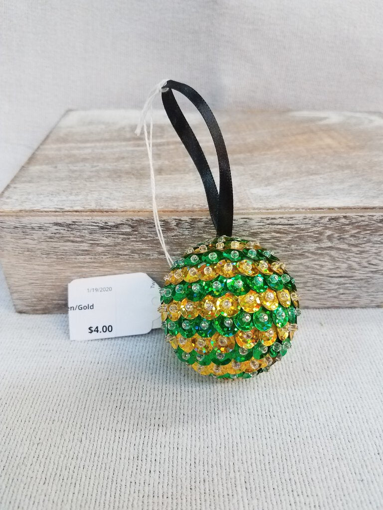 Sequin Rhinestone Green & Gold  Ornament