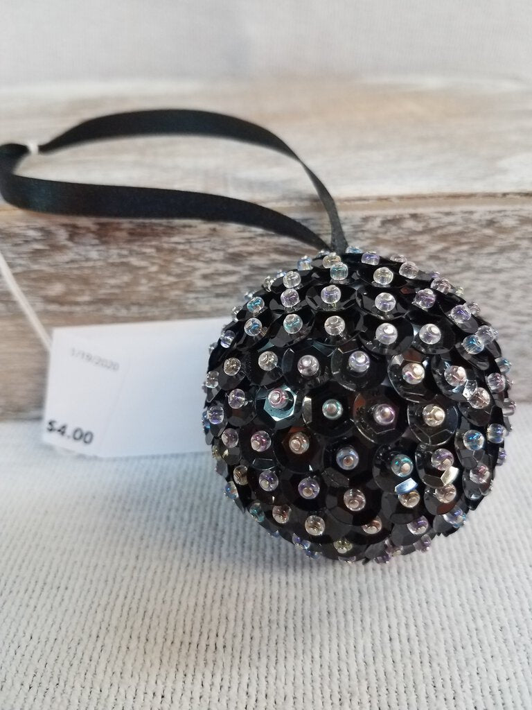 Sequin Rhinestone Black Ornament