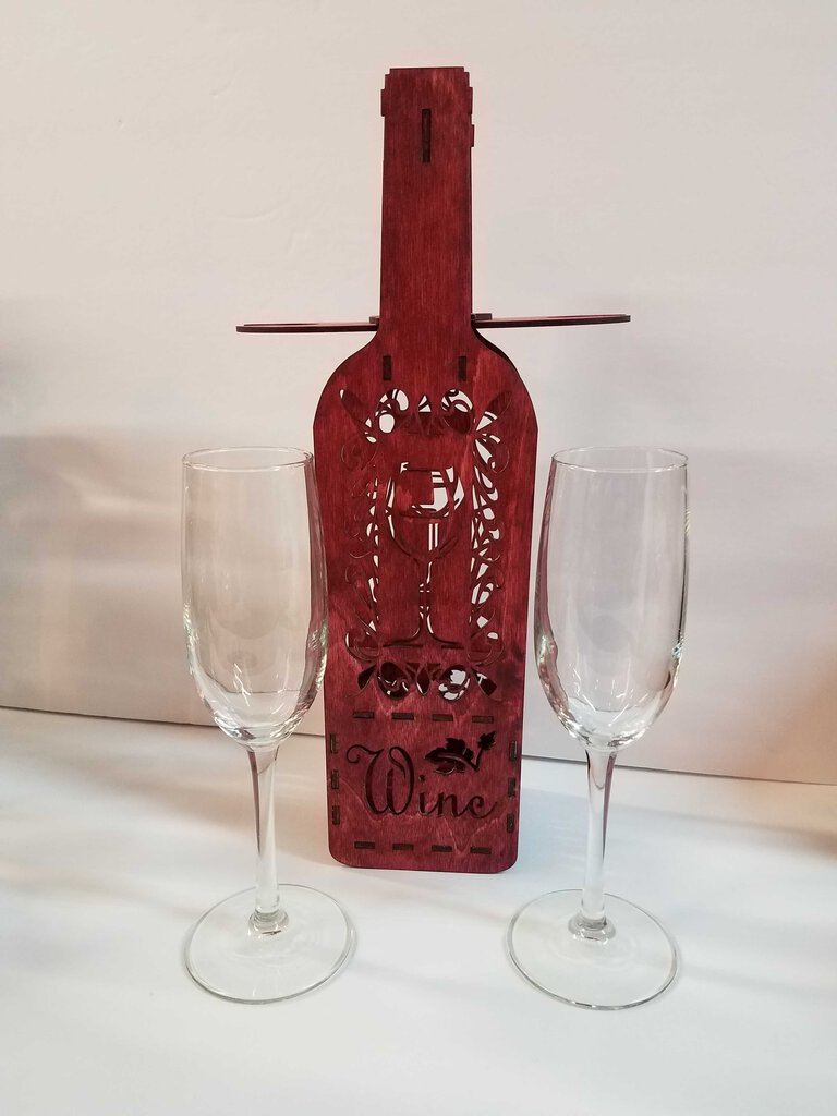Wine Bottle & 2 Tal Flute Glasses