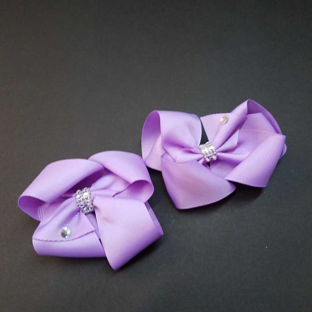 2 Pkg Purple Lilac Bow Clips