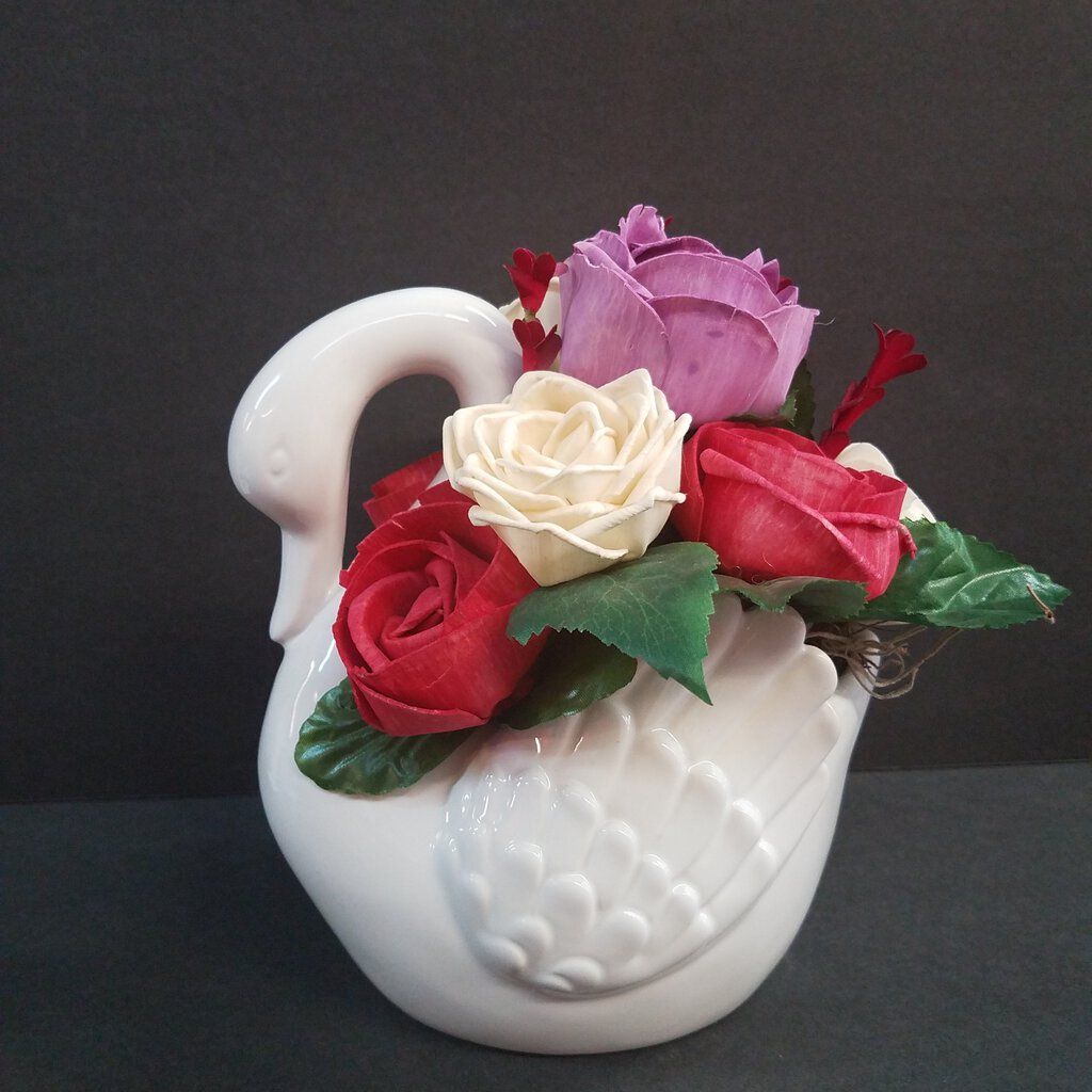 Swan Vase Shaped with Colorful Forever Flowers