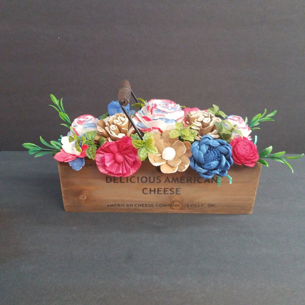 Red, White & Blue Colorful Wood Forever Flower Box