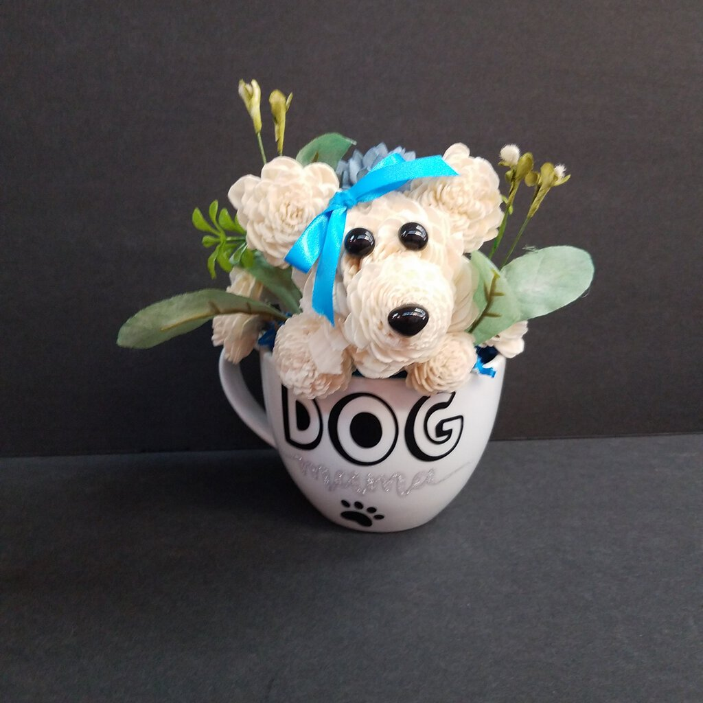 Dog Mama Cup with a dog face made of forever flowers