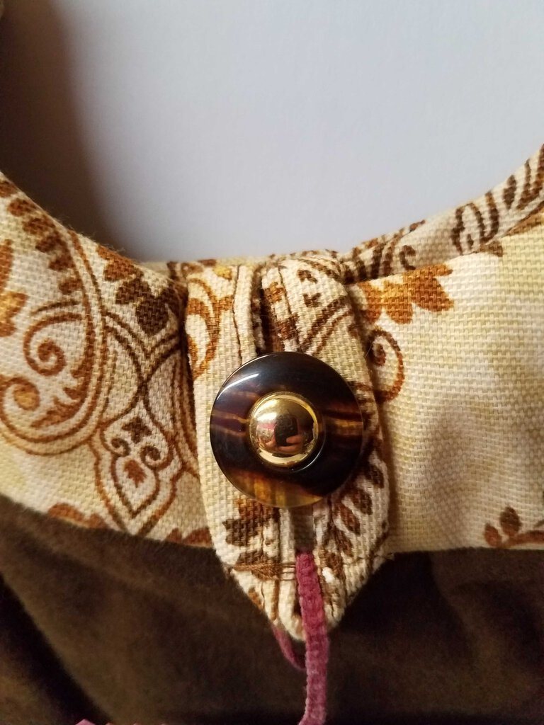 Paisley on Gold & Brown Round Shoulder Bag