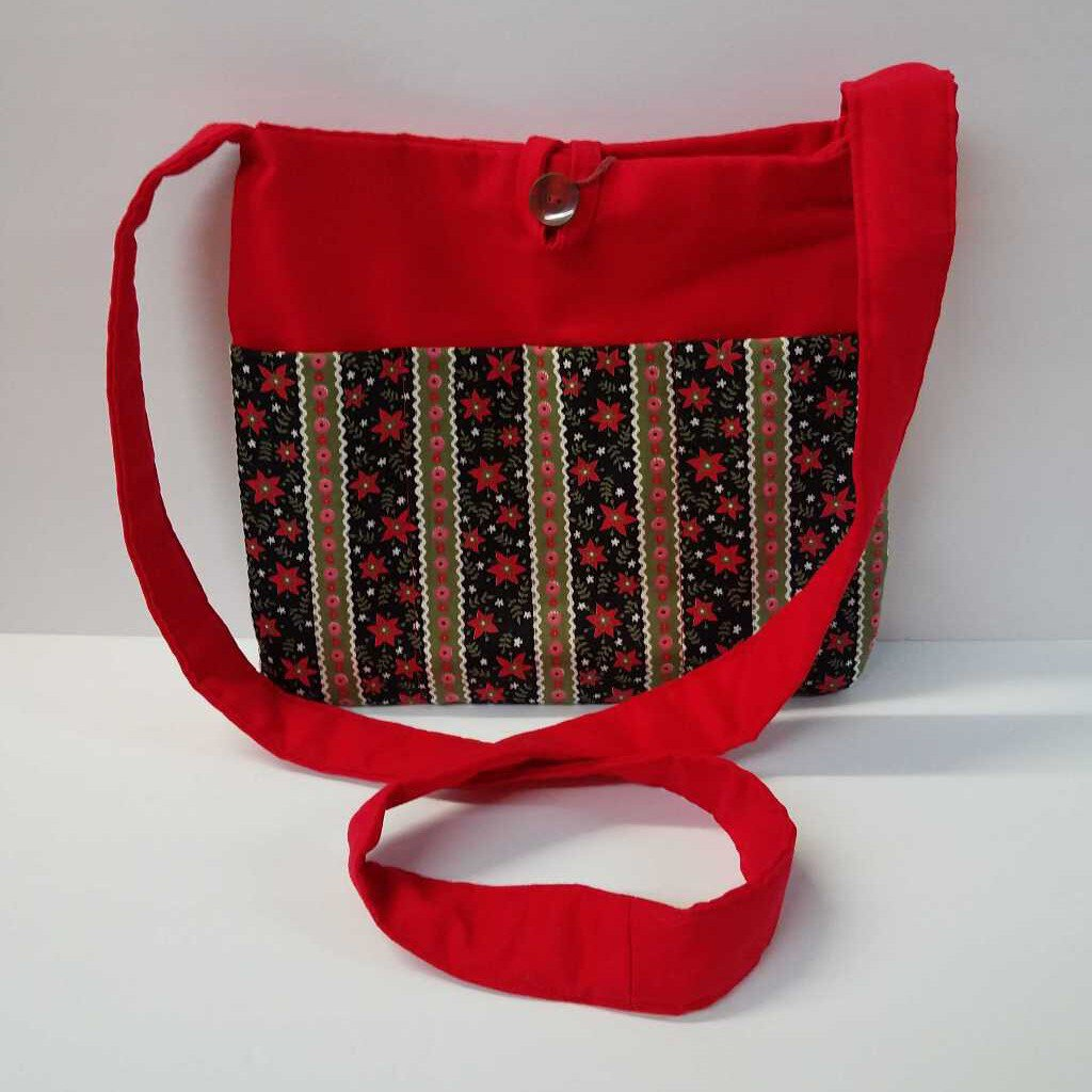 Flowers & Strips Medium Crossbody Purses