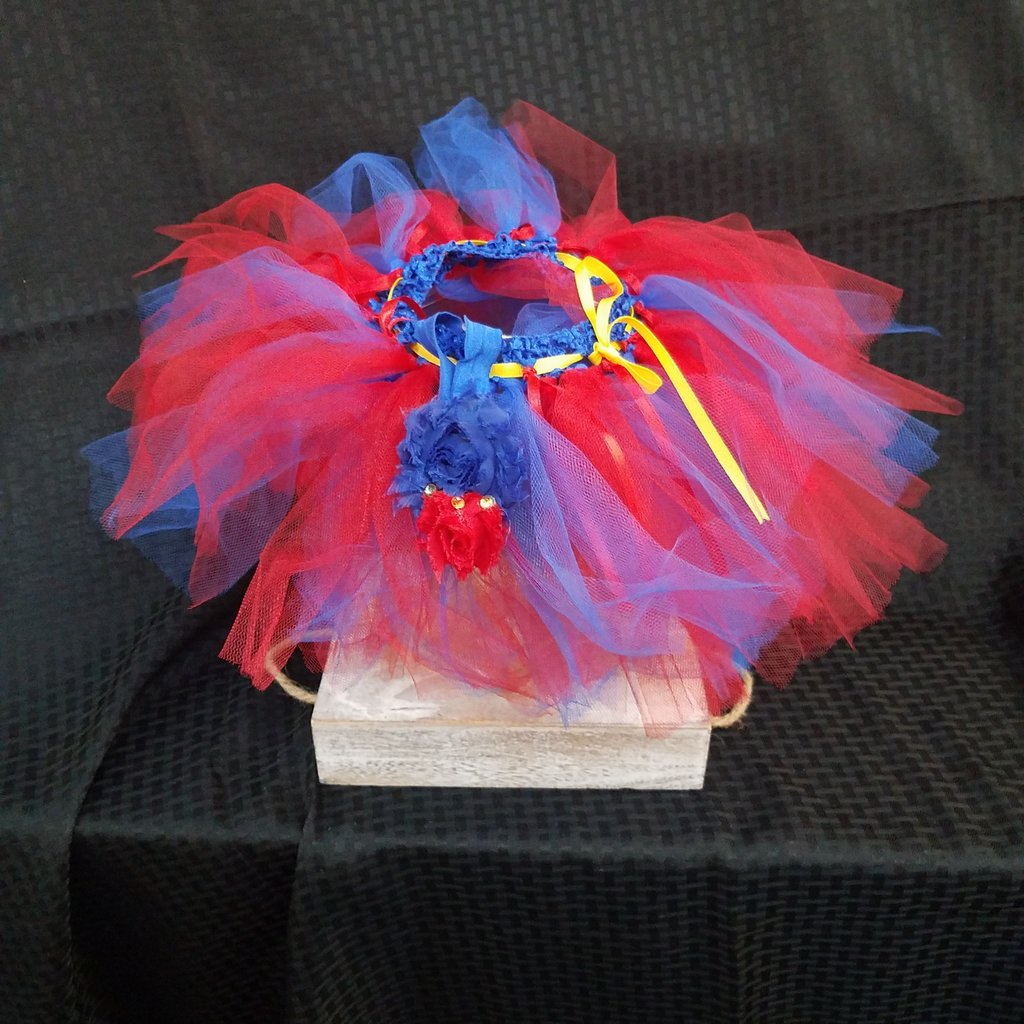 Red & Blue Tutu with Head Bow