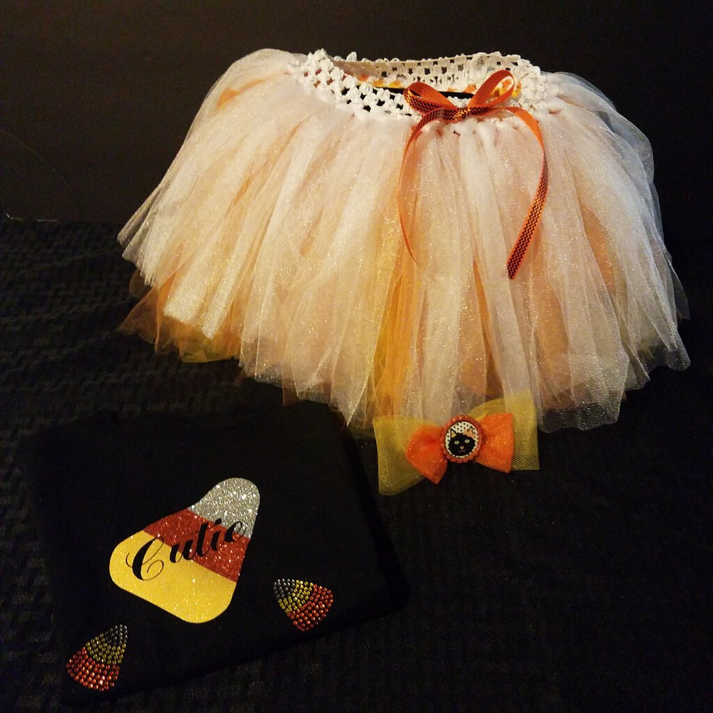 Cutie Candy Corn Glitter Tutu Set with Hair Bow Clip Size 2
