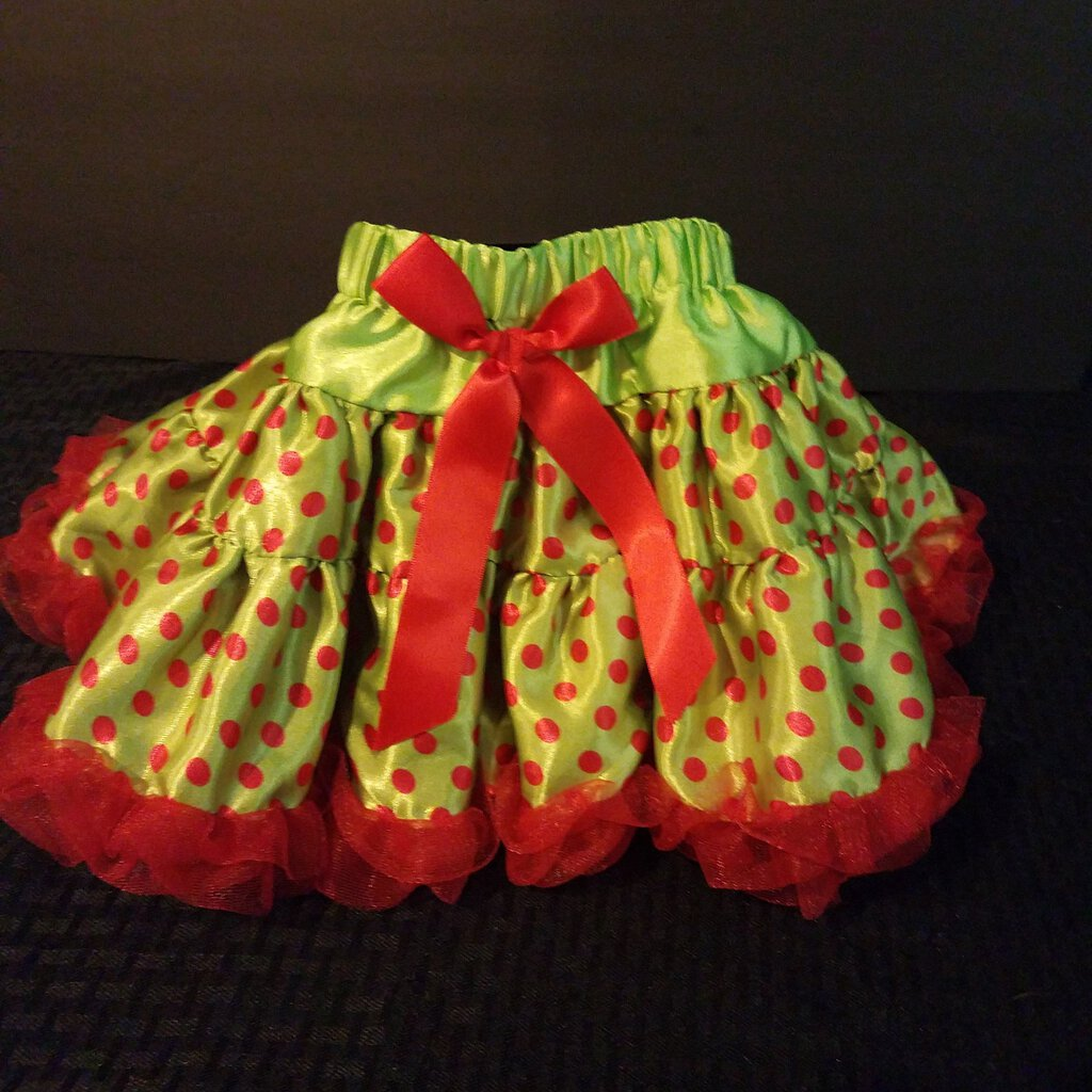Green with Red Polka Dot and Red Ruffle Trim X-Small Skirt