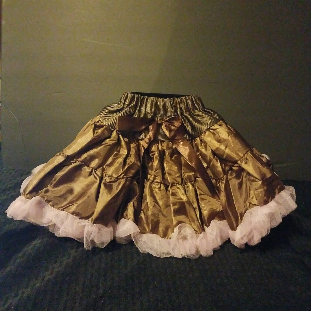 Brown Small Skirt with Pink Bottom Ruffle Trim