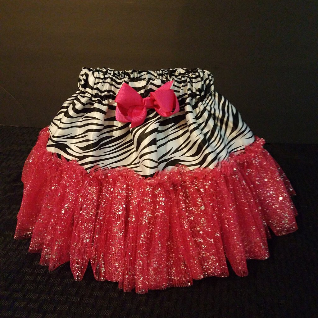 Zebra :Print with Pink Ruffle Trim Petti Size Skirt