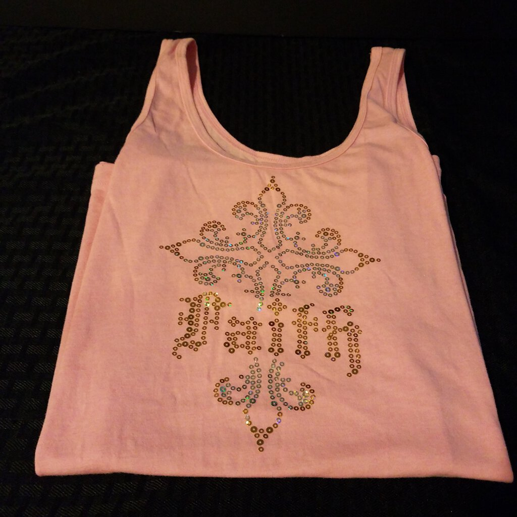 Faith with Fancy Design in Rhinestones Pink Women's Tank Top Size Large (11/13)
