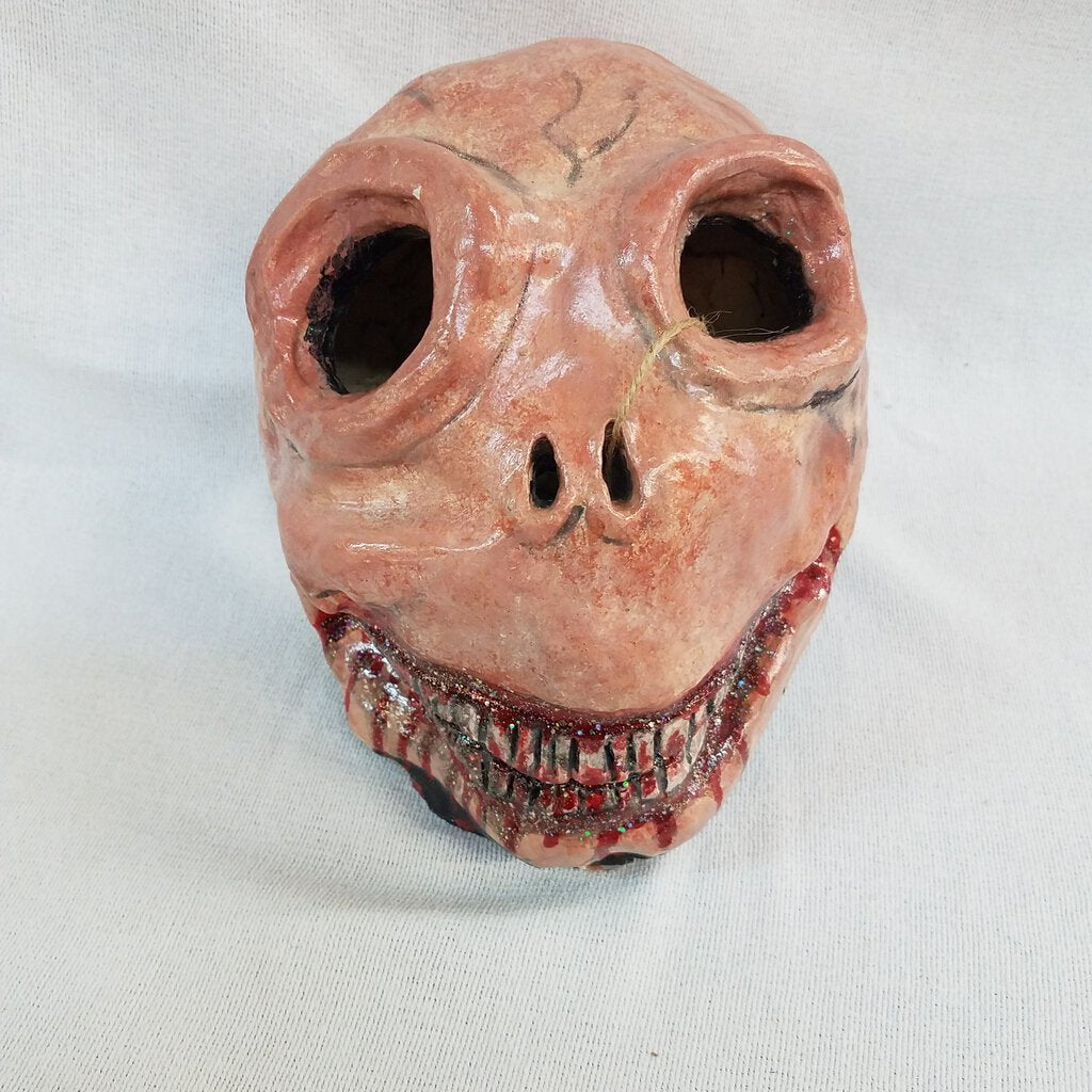 Clay Skull Sculpture