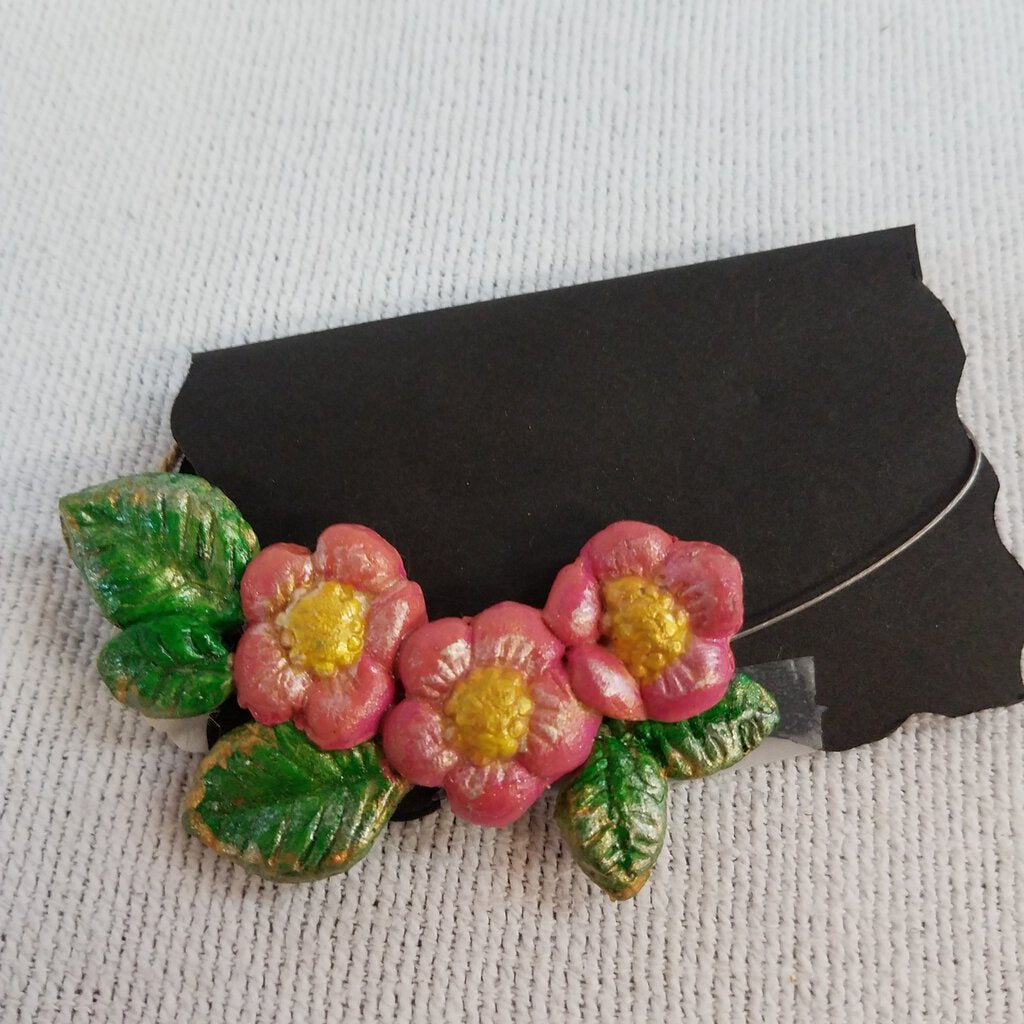 3 Pink Flower Cameo Necklace