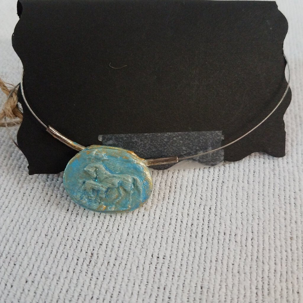 Blue/Gold Horse Cameo Necklace