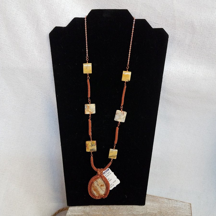 Crazy Lace Agate Necklace made with Woven and Coiled Raw Copper