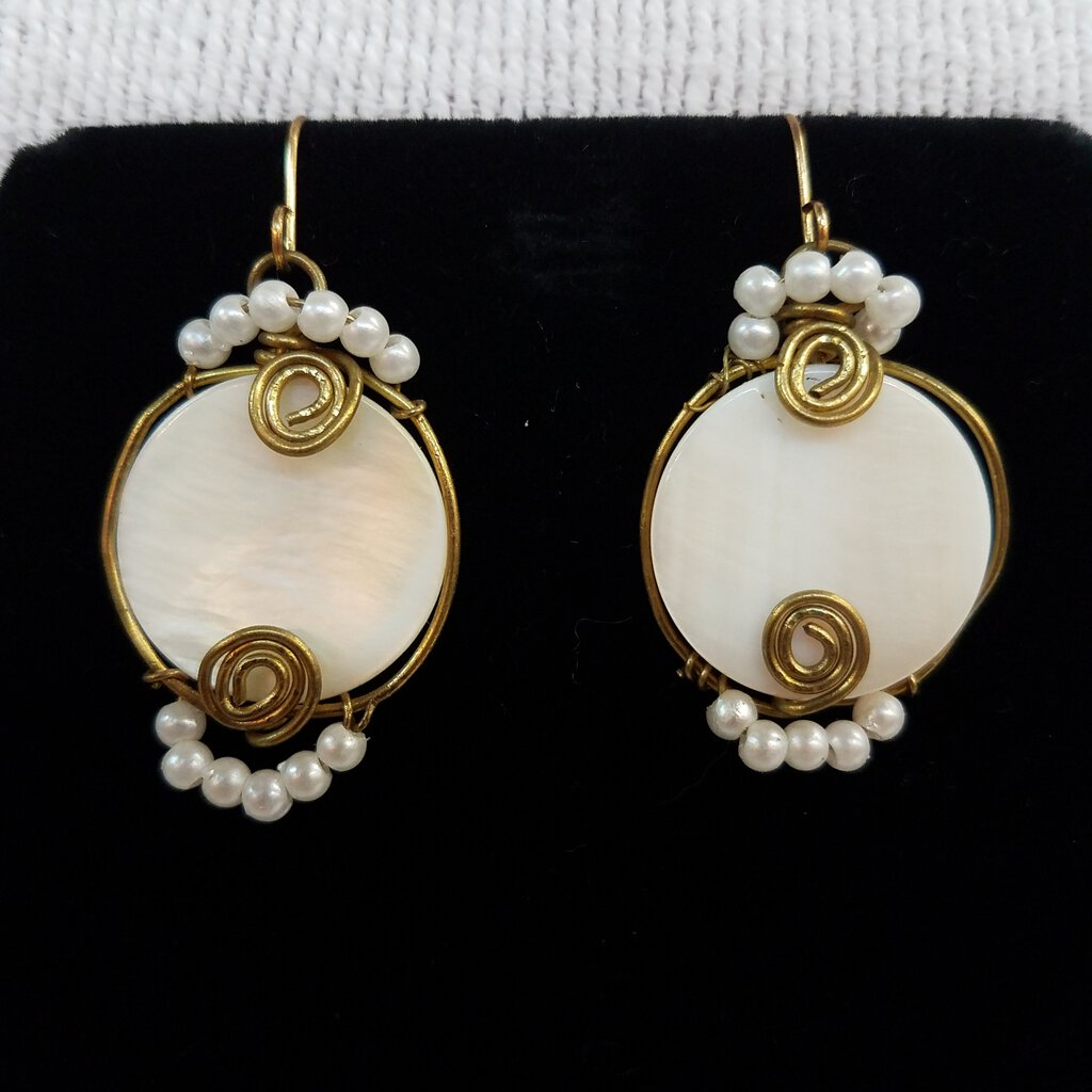 MOP Faux Pearls Dangel Earrings