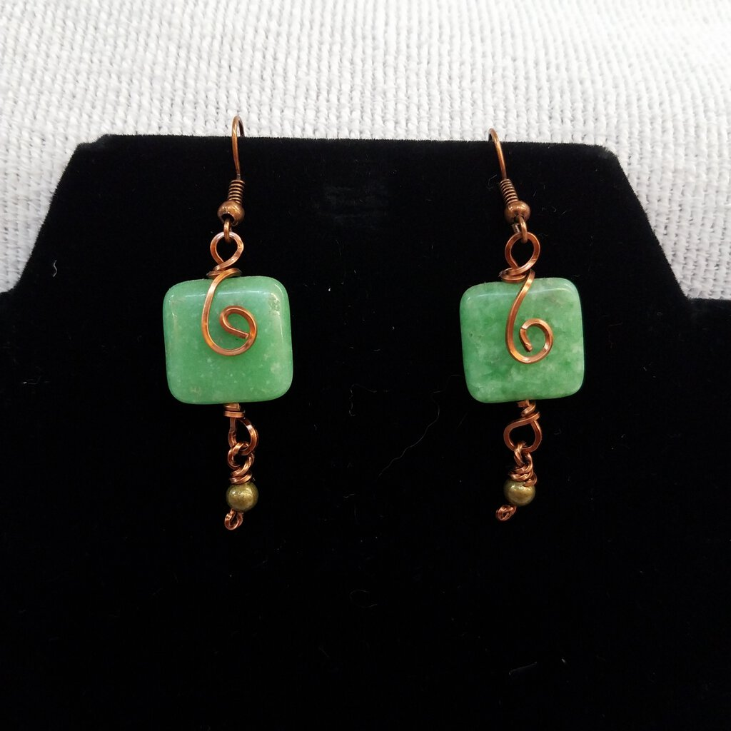 Adventurine Square Stones with Copper Wiring Earrings