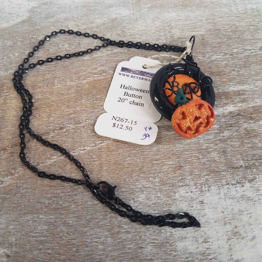 "Halloween Pumpkin Wire Wrapped Button Necklace on a 20"" Chain"