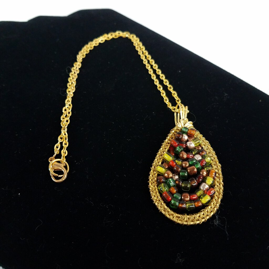 A Woven Brass with Fall Color Beads 18' Chain