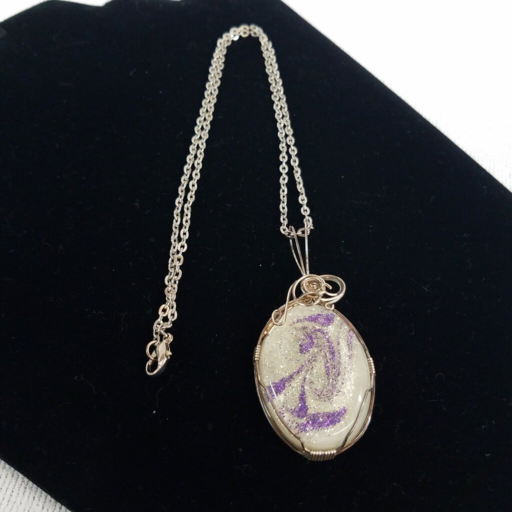 Purple Silver Swirl Resin Silver Filled Pendant Silver Wire Wrapped with 20' Chain