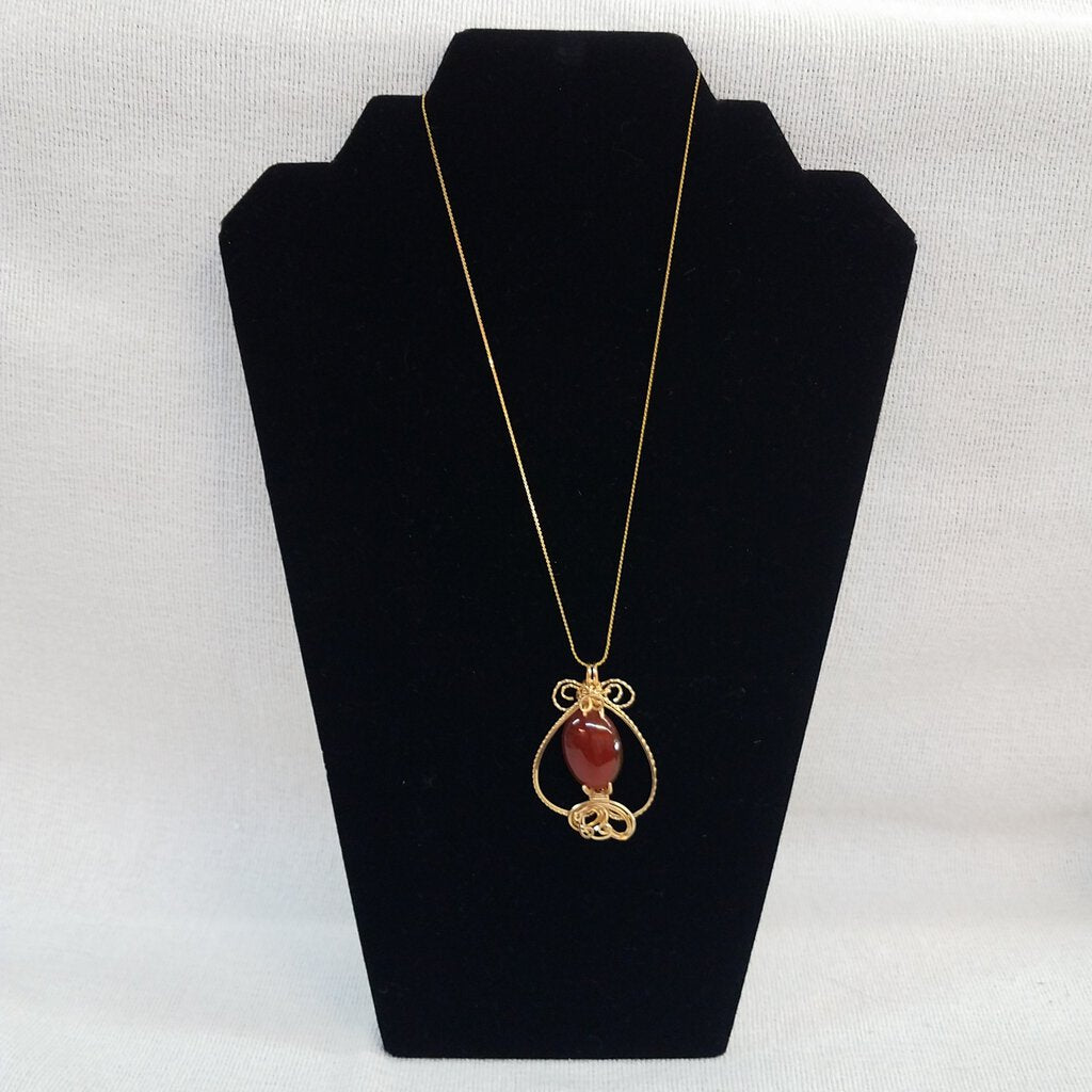 Carnelian Sculpted in 14k Gold Filled Jewelers Wire with 18' Chain