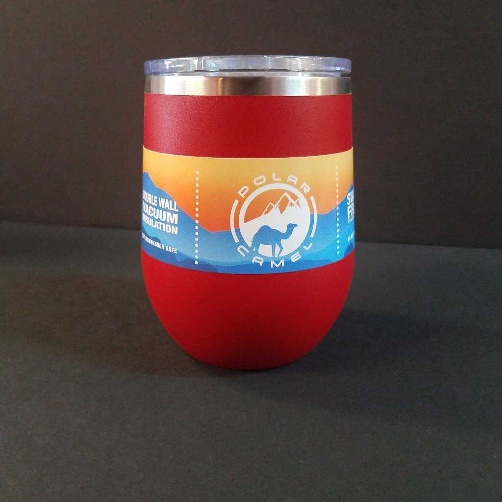 12 oz Red Polar Camel Stemless Wine Tumbler w/Lid