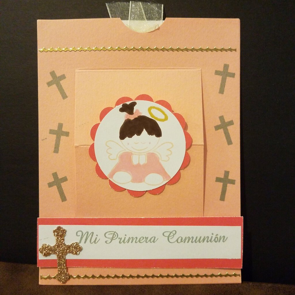 Mi Primera Comunion Slider Card with Saying Inside with Envelope