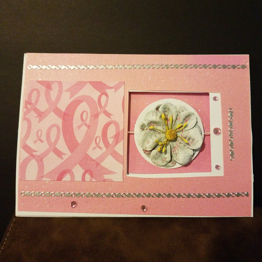 Pink Ribbon Center Spinner Blank Inside Card with Envelope