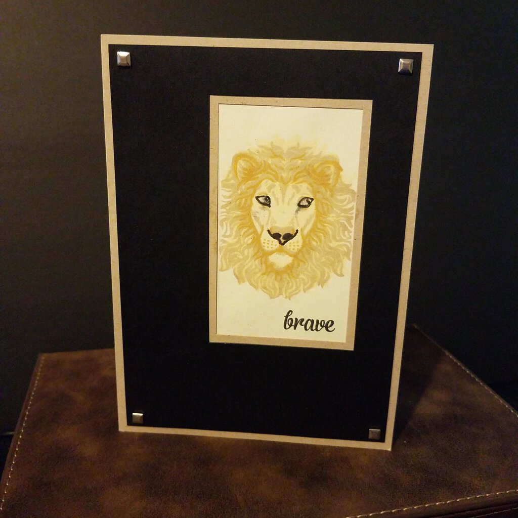 Handmade Brave Card Blank Inside with Envelope