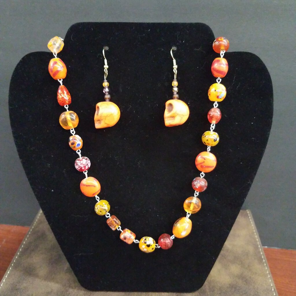 Orange Skull Howlite Earrings