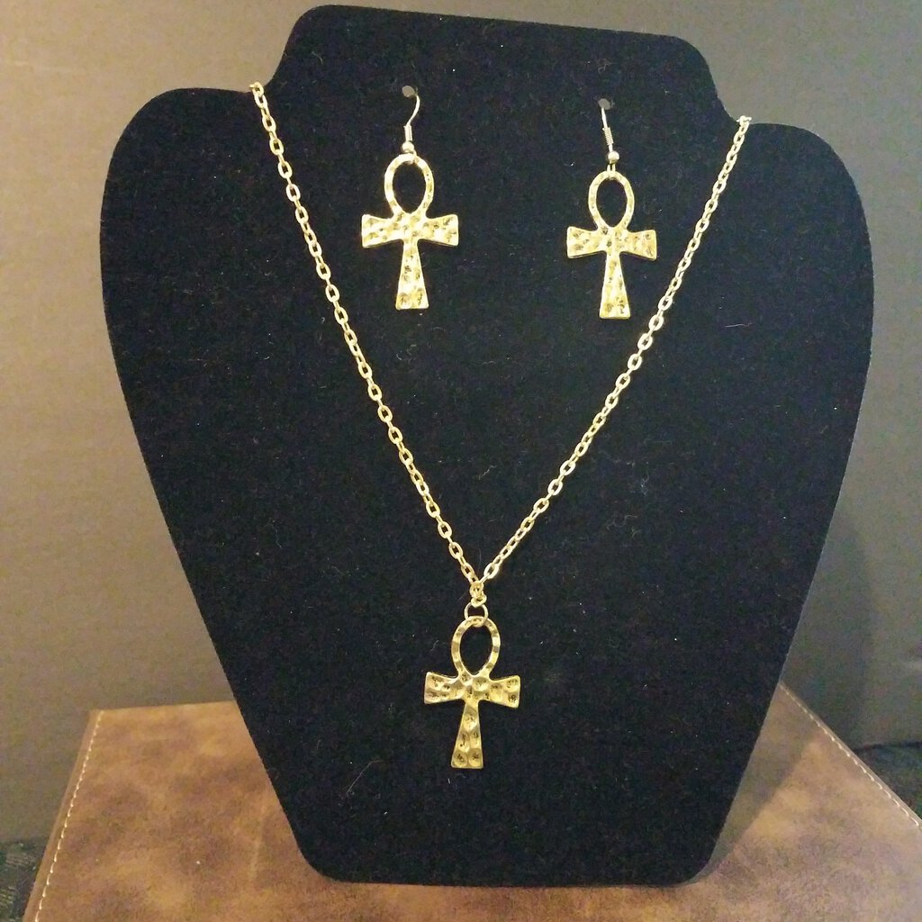 Ankh Earrings & Necklace Set