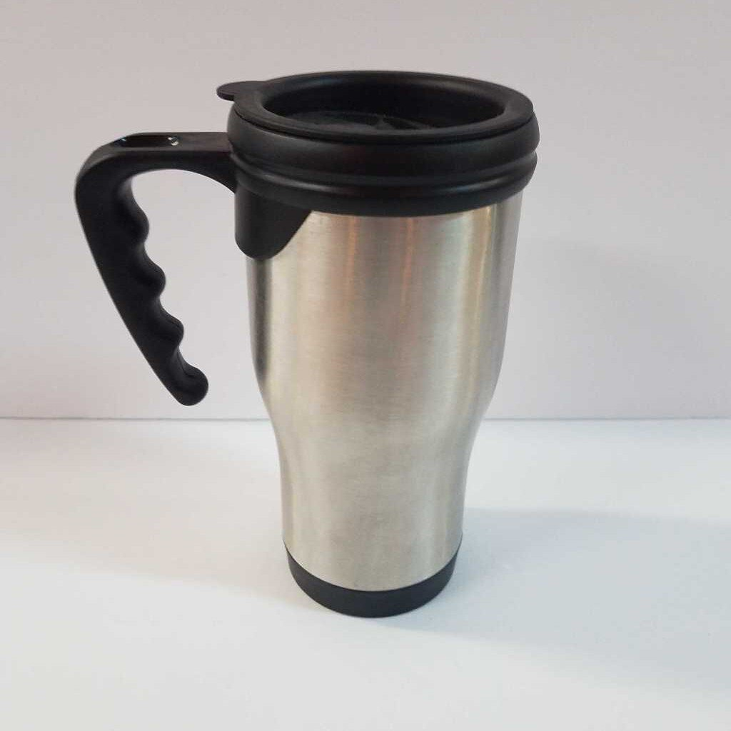 "14 oz. Silver Stainless Steel Travel Mug with Handle ""Limited Time Supply"""