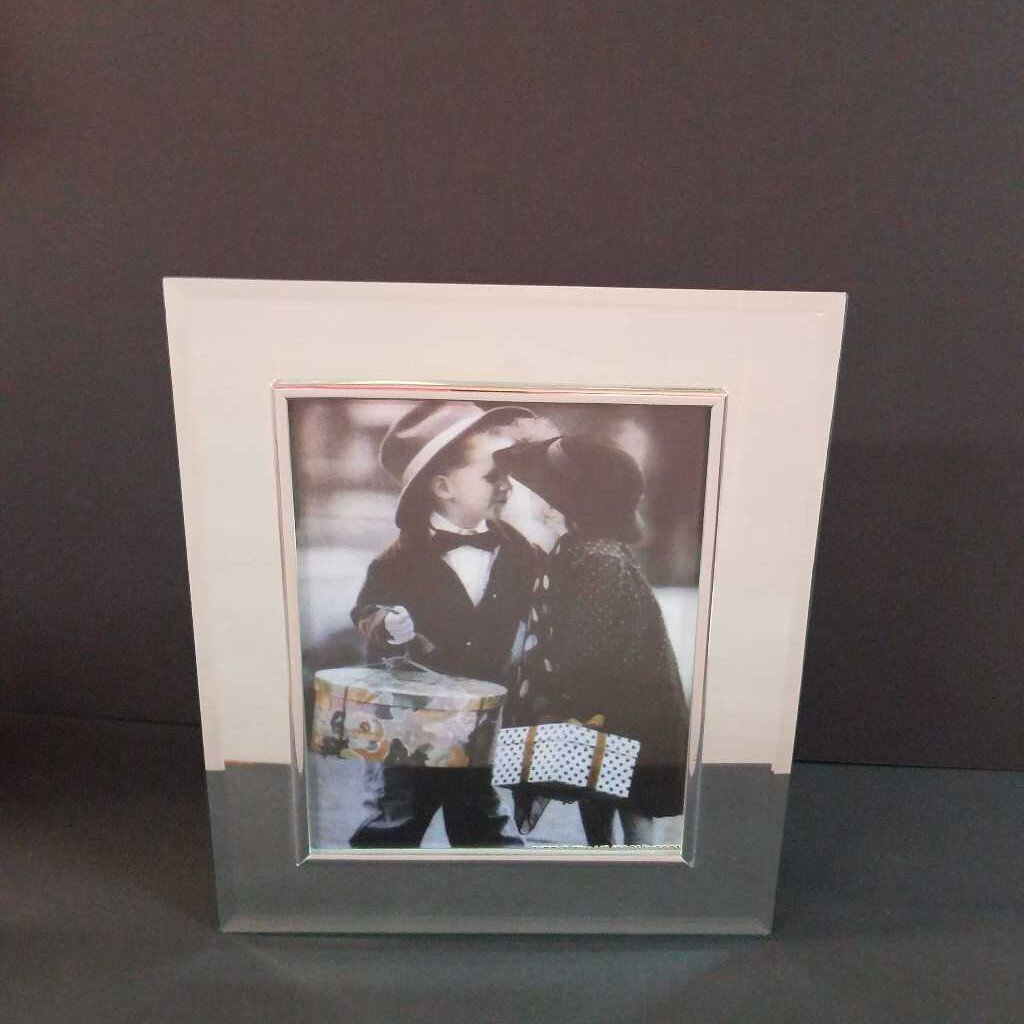 "8"" x 10"" Clear Glass Mirror Picture Frame with Silver Trim"