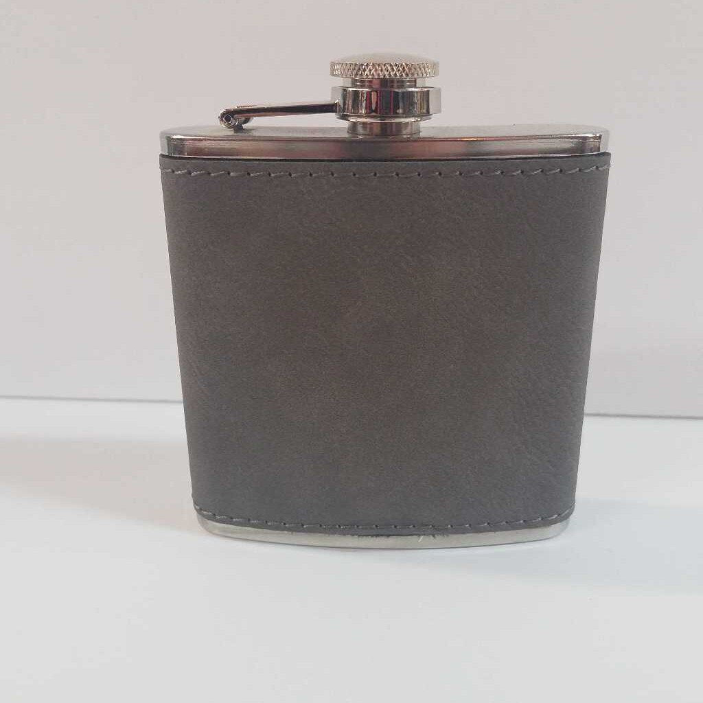 "6 oz. Leather Flask ""Gray"""