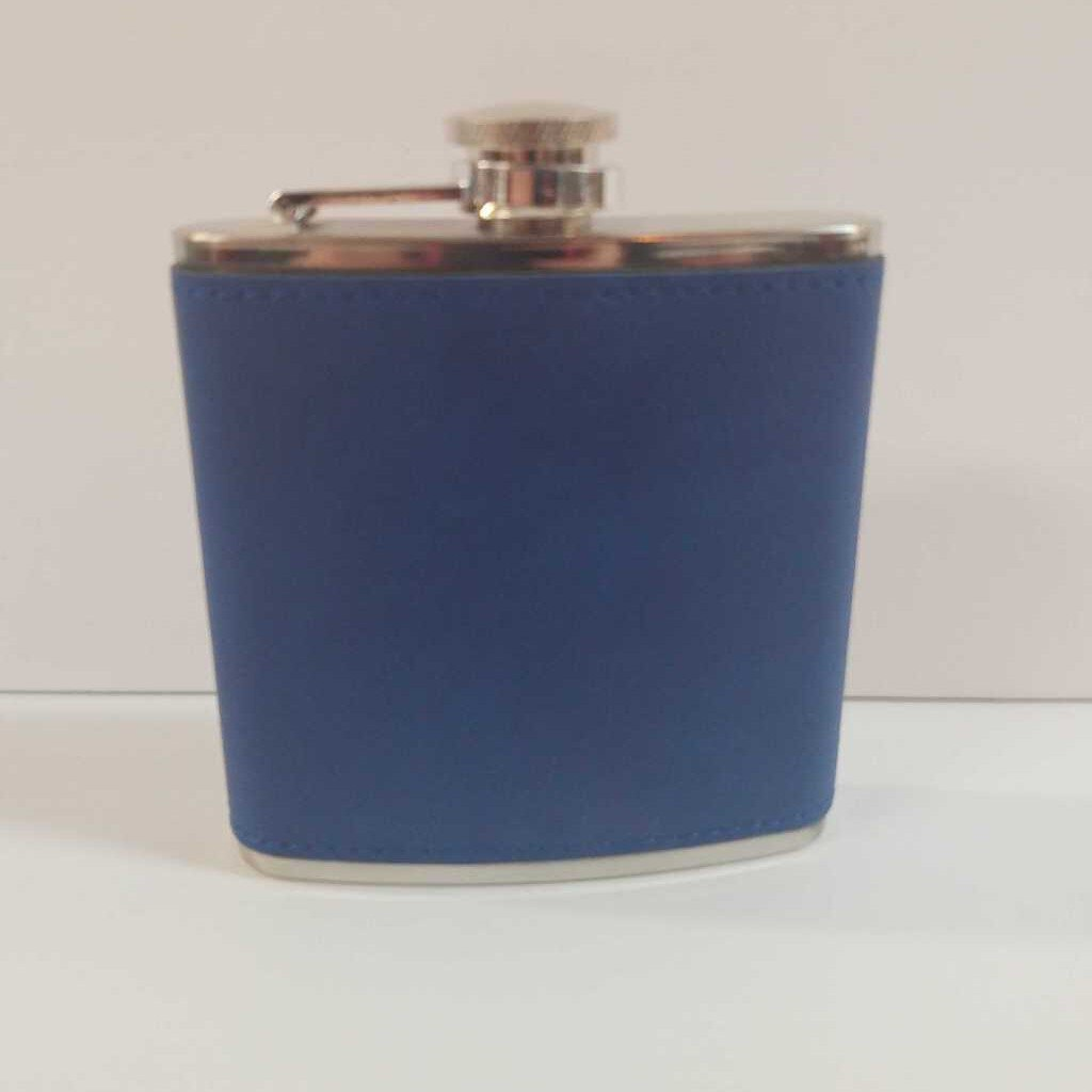 "6 oz. Leather Flask ""Blue"""