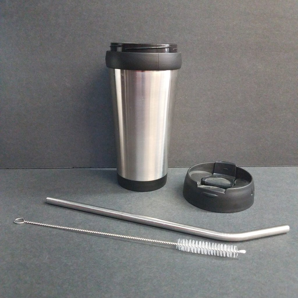 16 oz. Silver Stainless Steel Travel Mug