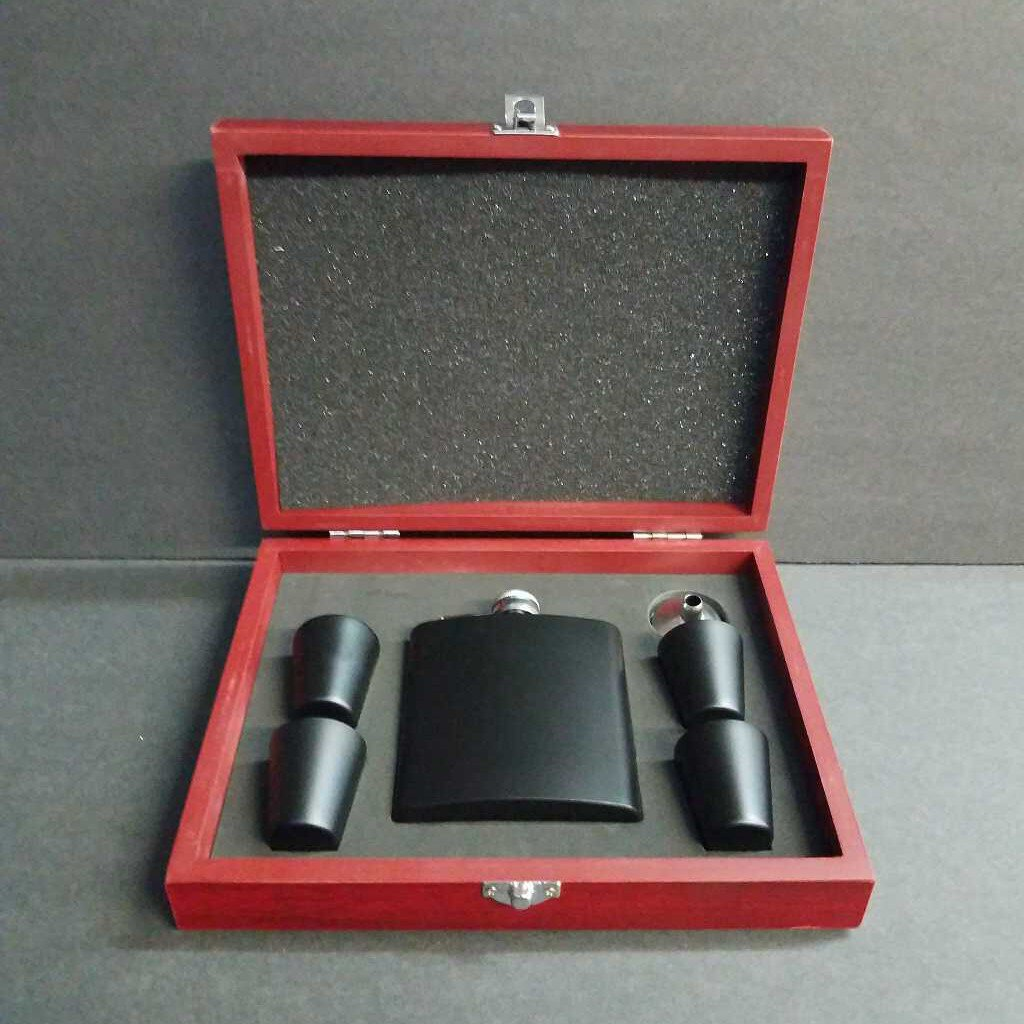 6 oz Black Stainless Steel Flask Set in Wood Presentation Box --FSK12