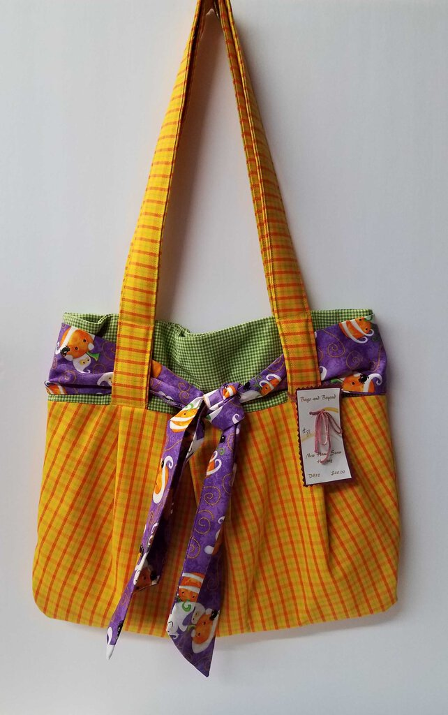 Yellow Plaid Sash Handbag