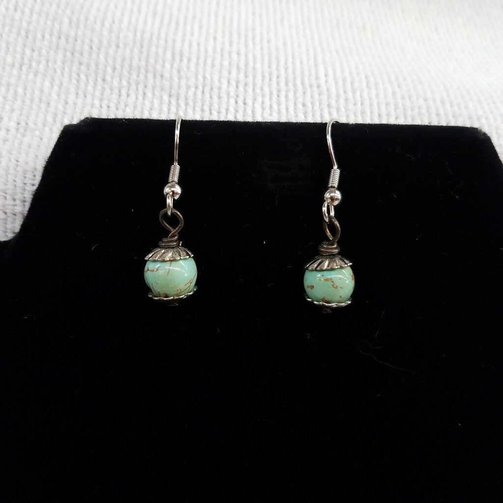 E166-15 - Faux Turquoise & Silver Dangels Earrings