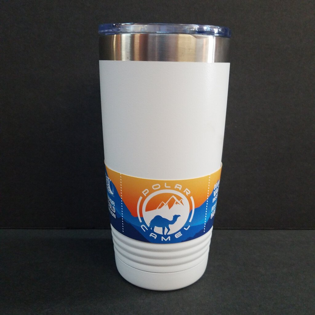 20 oz. White Polar Camel Tumbler w/Clear Lid