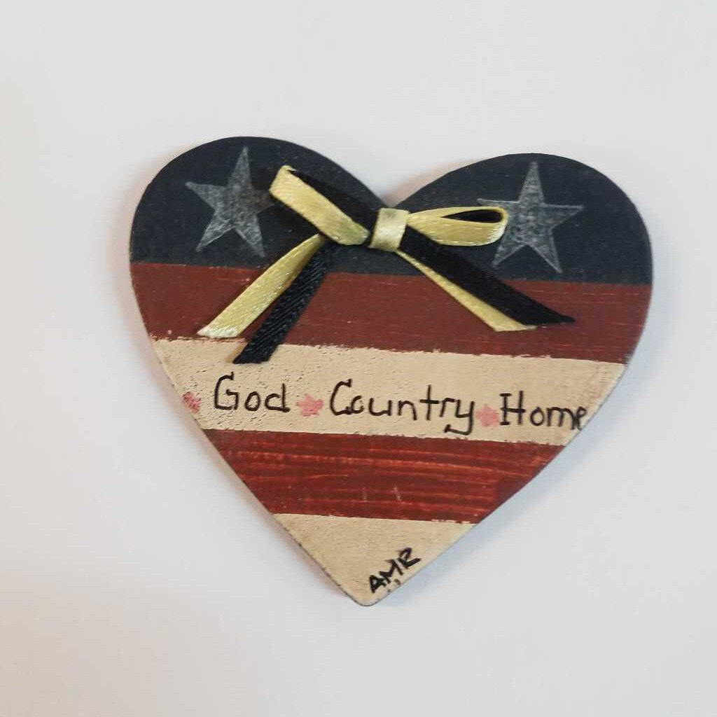 Wood Hand Painted Heart Shaped Magnet with the Service Flag and God*Country*Home* on it