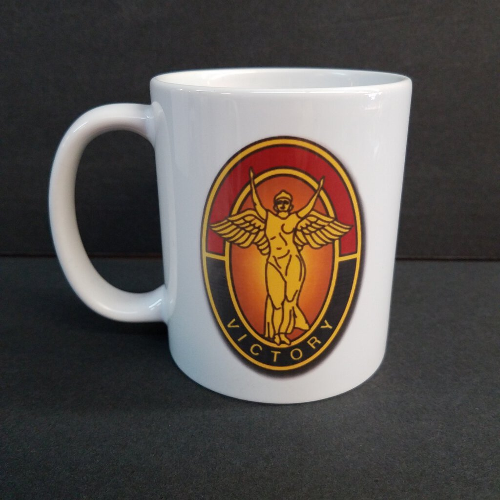 """Big Red One & Lady Victory"" 11 oz. White Ceramic Mug"